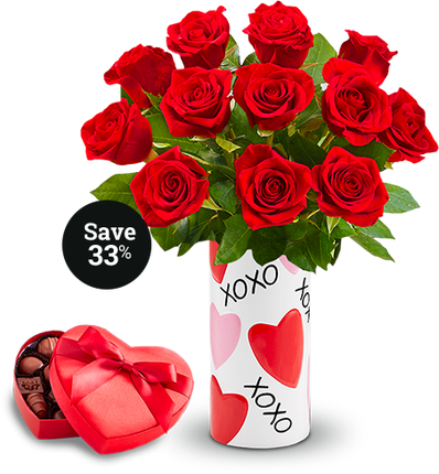 Red Roses with XOXO Vase Chocolate