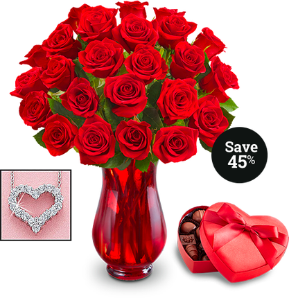 Red Roses with Vase Necklace Chocolate