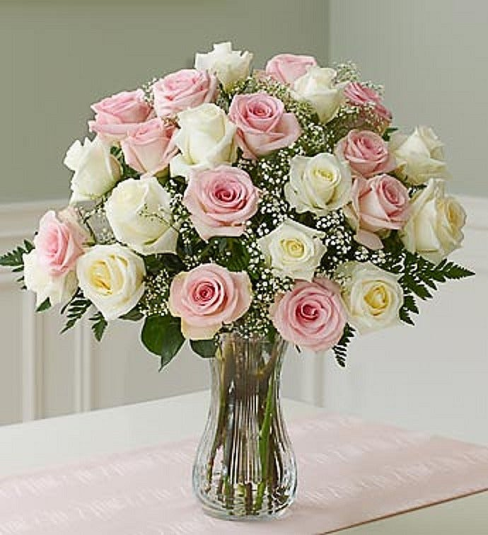 Two Dozen Long Stem Pink & White Roses