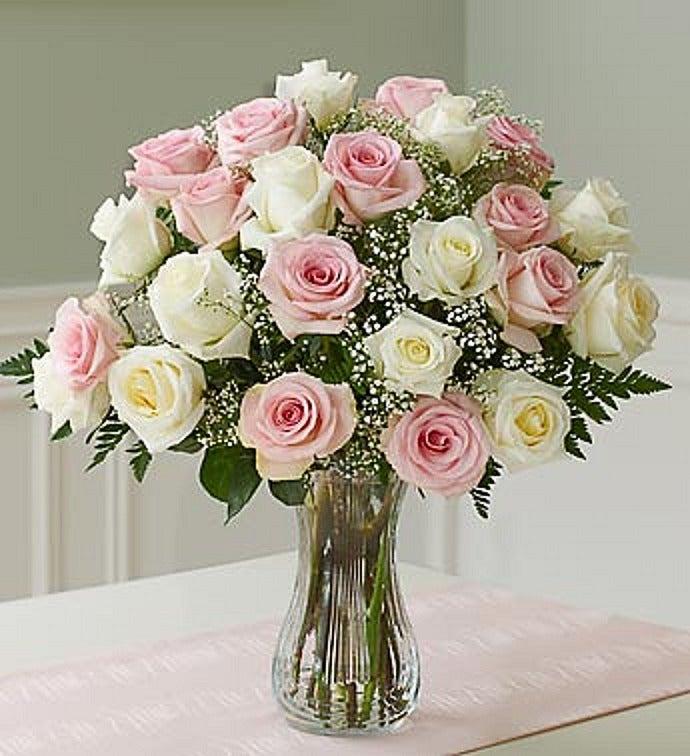 Two Dozen Pink & White Roses