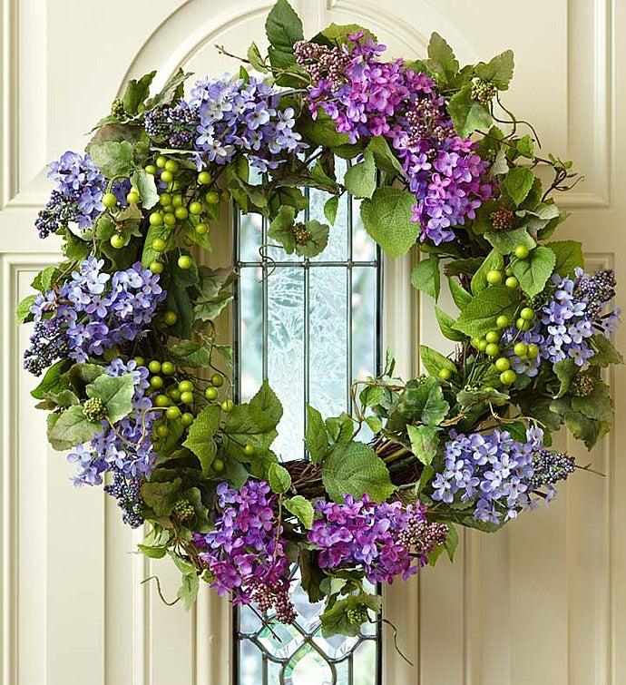 "Faux Lilac Wreath - 24"""