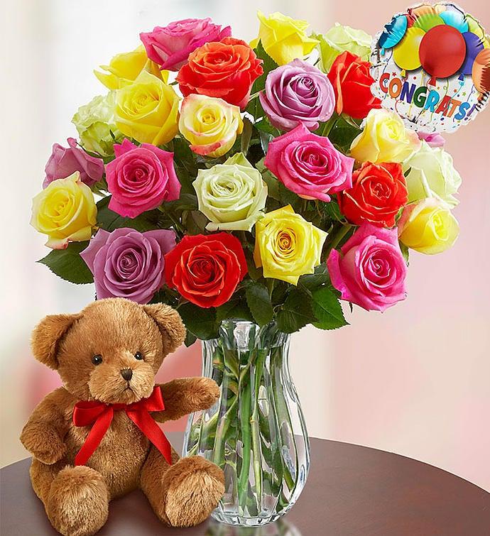 Congratulations Assorted Roses, 12-24 Stems
