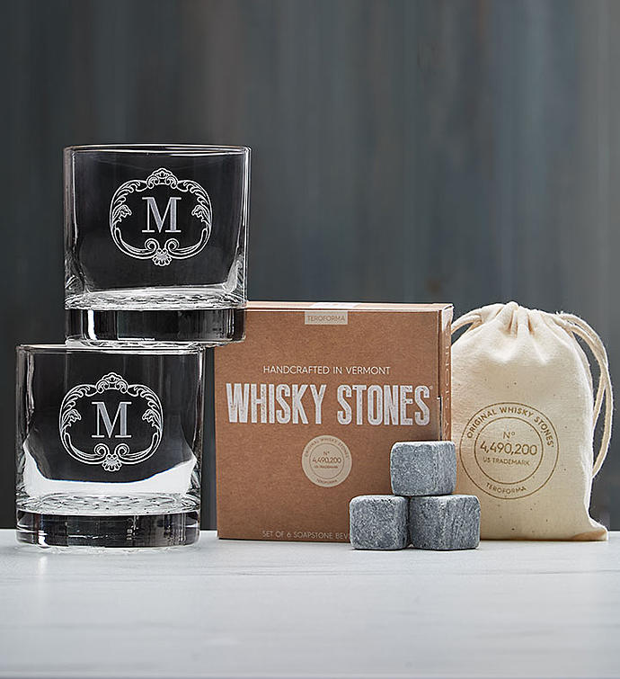 Personalized Whiskey Glasses and Whiskey Stones