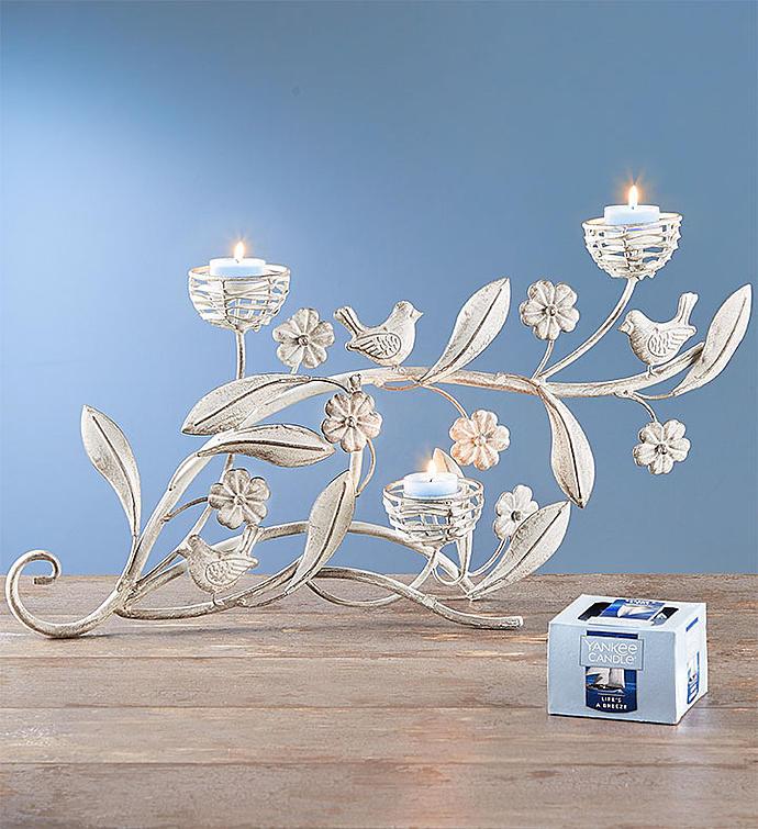 Spring Bird Candelabra & Yankee Candle® Tealights
