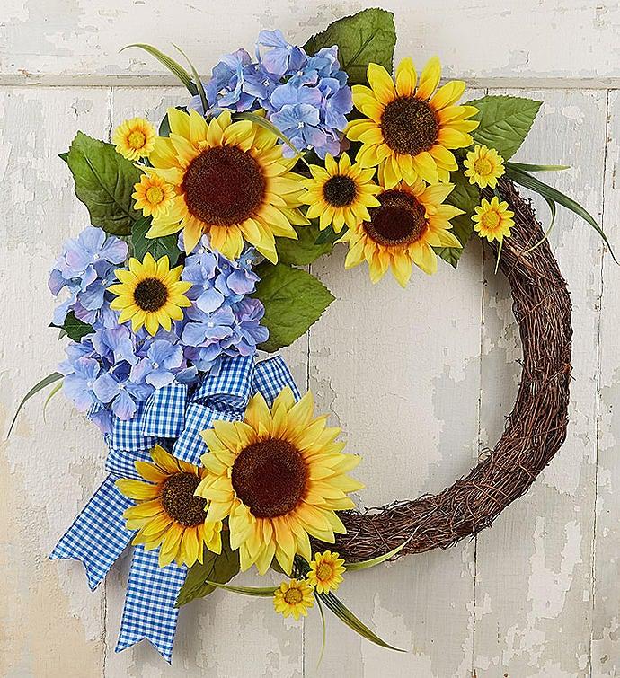 "Keepsake Farmhouse Sunflower Wreath- 18"""