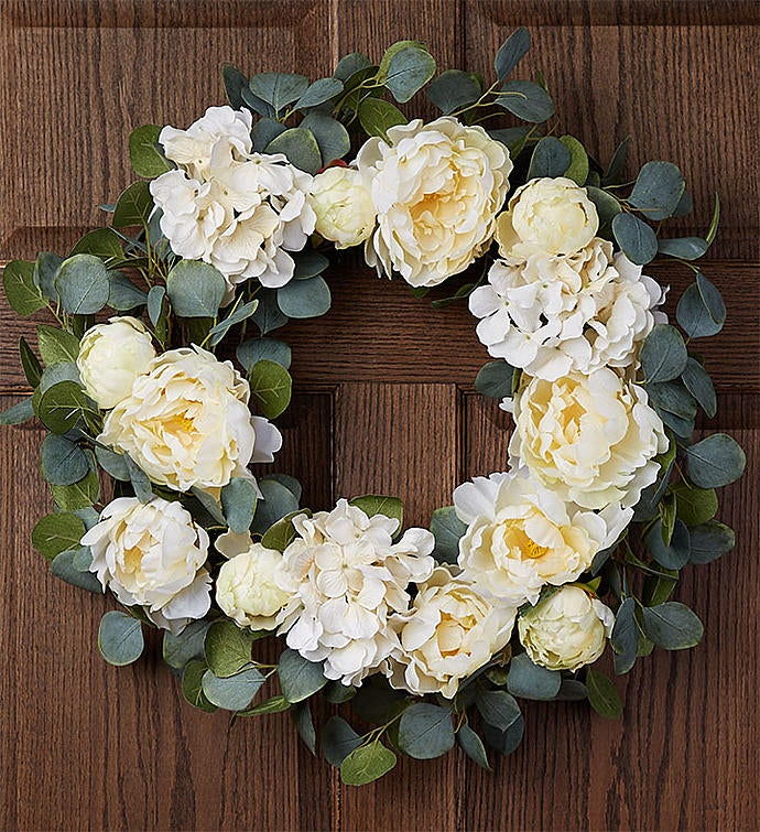 "Keepsake Serene White Hydrangea Wreath-24"""