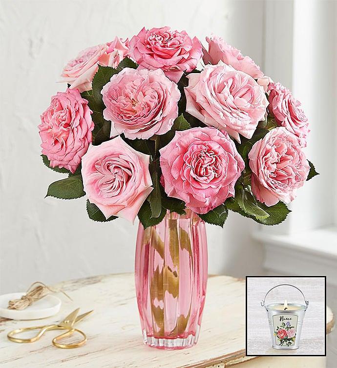 English Garden Rose Bouquet, Pink