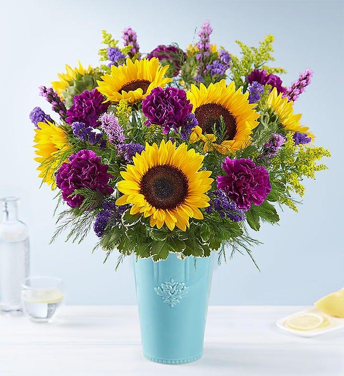 Golden Sunflowers™ in Rustic Charm Vase