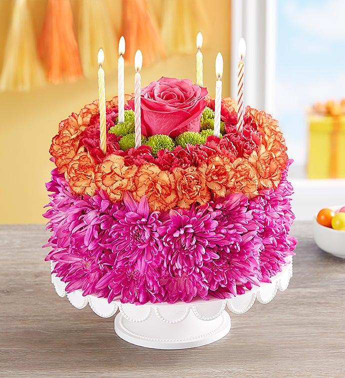 Wondrous Birthday Wishes Flower Cake Vibrant From 1 800 Flowers Com Funny Birthday Cards Online Chimdamsfinfo