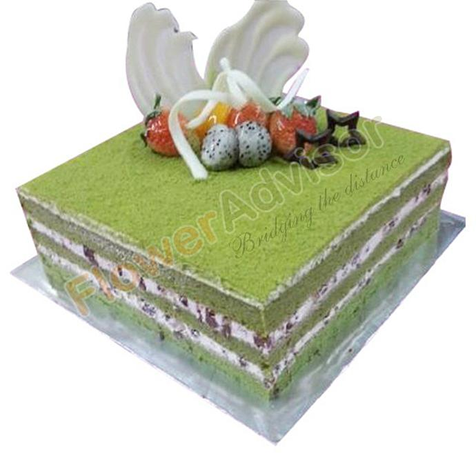 Green Tea Cake with Free Rose Bouquet