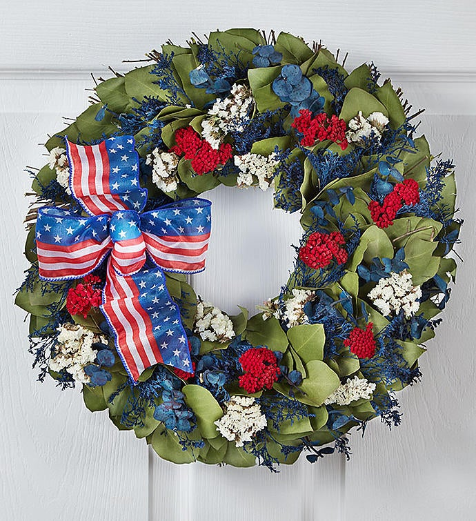 """Preserved Red, White and Beautiful Wreath - 16"""""""