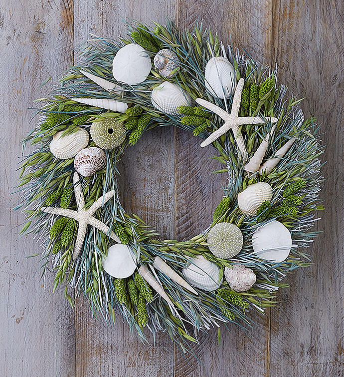 "Preserved Seaside Wreath 16"""