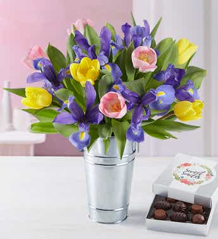 Fanciful Spring Tulip & Iris Bouquet