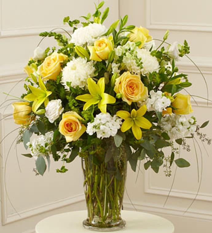 Yellow and White Large Sympathy Vase Arrangement